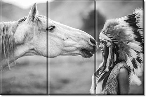 Horse and Feather Indian Woman Wall Art 3 Pieces Black White Photography Pictures Print on Canvas Native American Wall Decoration Artwork Framed Stretched Ready to Hang 20 x 40 inch x3