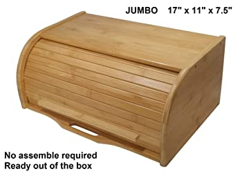 PremiumPresents Large Natural Bamboo Bread Box