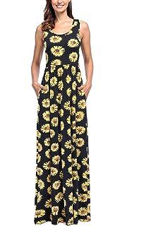 05b85692255 Comila Women s Summer Sleeveless Floral Tank Maxi Dress Casual Long Dress  Pocket