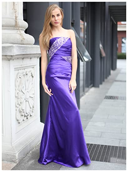 Clearbridal Womens Strapless Evening Dresses Beaded Ruched Pleats Bodice Long Prom Gown SD010 Purple UK6