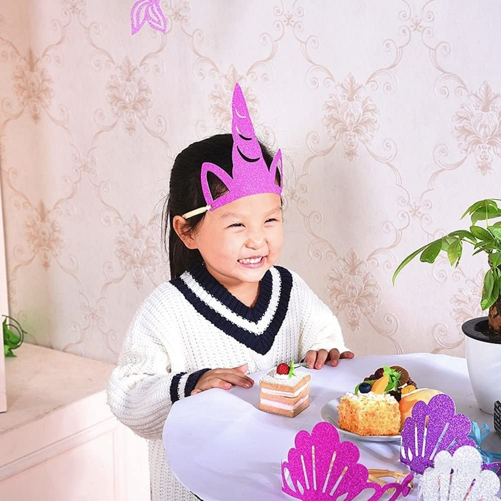 KWJOY Luminous Unicorn Party Horn Hats Luminous Unicorn Headband Party Supplies for Kids and Adults Birthday Party or Unicorn Theme Party Supplies,12 Pack 2 Style