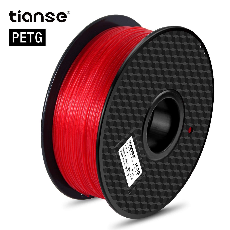TIANSE Imprimante 3D Filament PETG 1.75mm 1KG, Clair