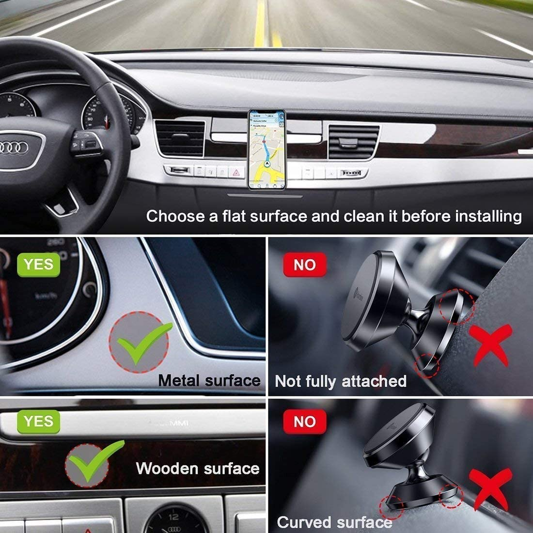 Black Baskety 360 Rotating Universal Magnetic Phone Car Mount for 4-8-inch Smartphones Cart Holder