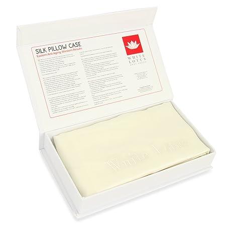Funda de almohada de seda antienvejecimiento - Individual, blanco pour - Imprescindible para un sueño reparador - Prevención de las arrugas y la caída del ...