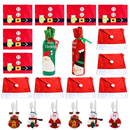 7543f66391a1a Christmas Dinner Table Party Decorations Kit (with 6xSanta Claus Red Hat  Chair Back Cover +