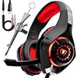 Professional Headset Gaming with Noise Cancelling Mic Used in PC PS10 Xbox One, Headphones Over-The-Ear Lightweight Design wi