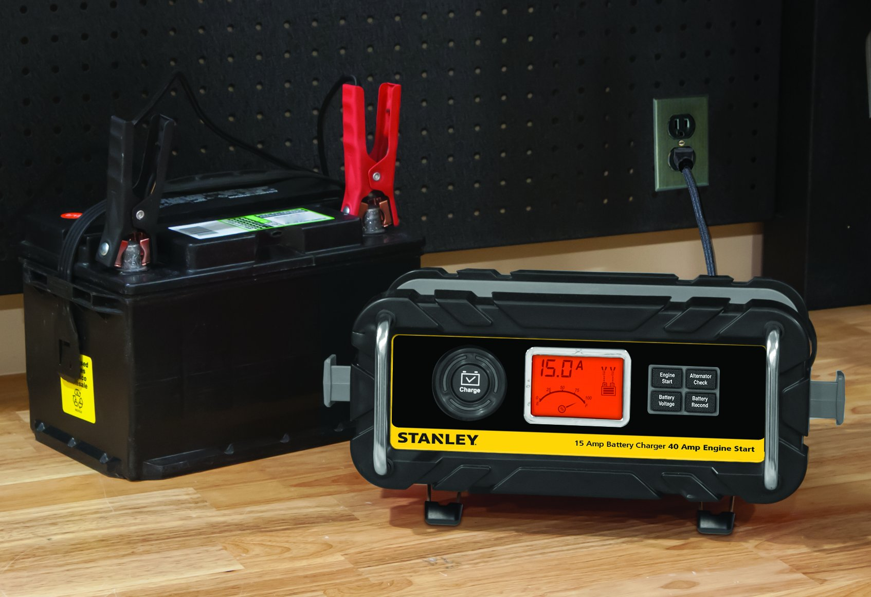 STANLEY BC15BS Fully Automatic 15 Amp 12V Bench Battery Charger/Maintainer with 40A Engine Start, Alternator Check, Cable Clamps by STANLEY (Image #2)