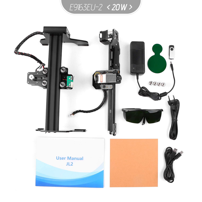 170mm KKmoon 20W Machine de Gravure Gravure de Laser de Bureau Portatif Imprimante de Marque de Logo de Laser de Mini Carver DIY avec la Zone de Travail de Lunettes de S/écurit/é 200mm