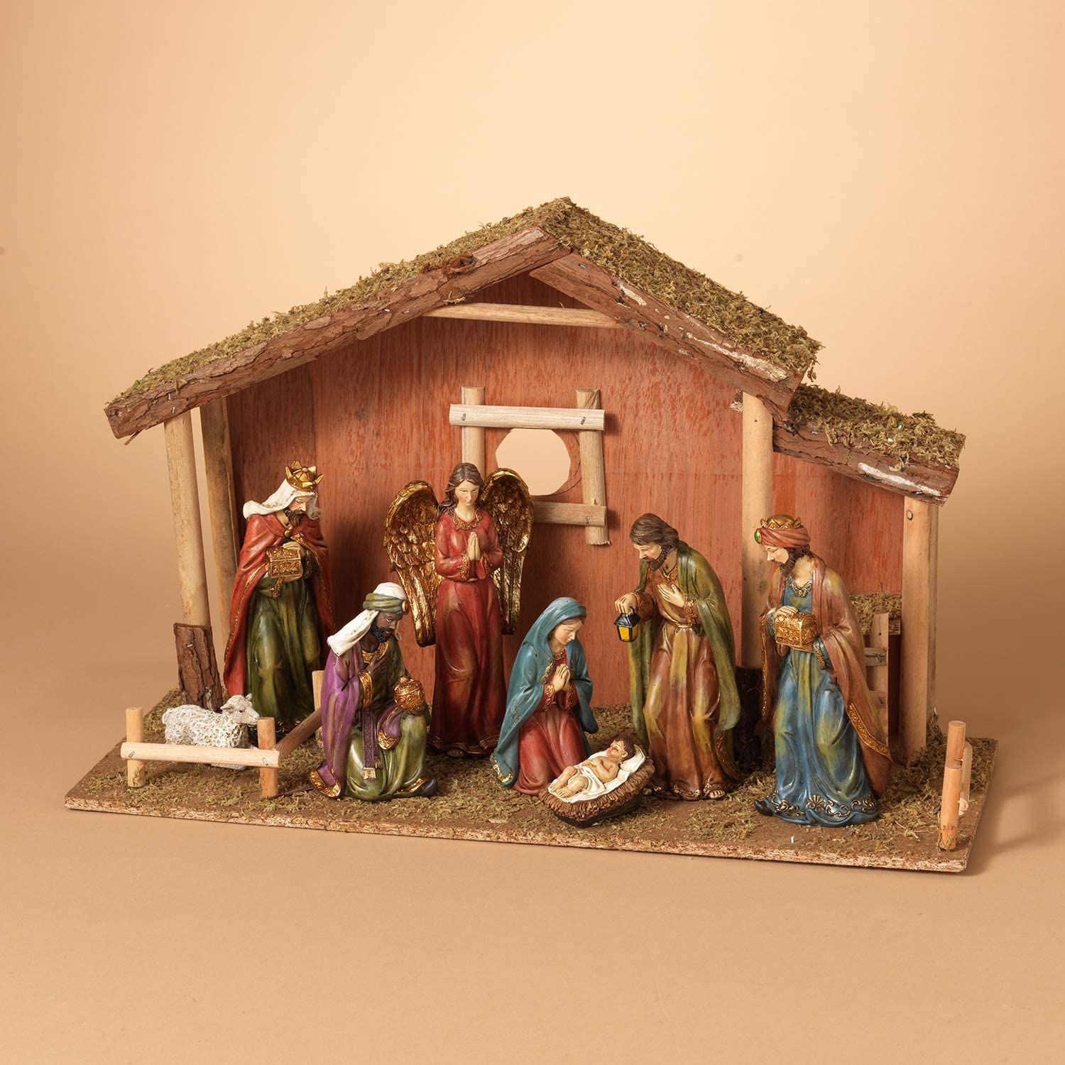 Rustic 9-Piece Traditional Nativity Set with Moss Stable – Tabletop Christian Christmas Decoration – Holiday Home Decor with Religious Figurines and Creche