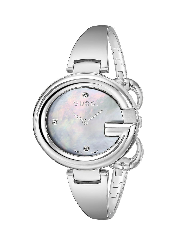 6cc7f88224e Amazon.com  Gucci Guccissima Diamond-Accented Stainless Steel Bangle  Women s Watch(Model YA134303)  Gucci  Watches