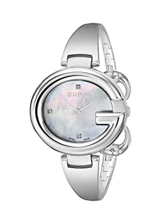 5889857fa8d Amazon.com  Gucci Guccissima Diamond-Accented Stainless Steel Bangle ...