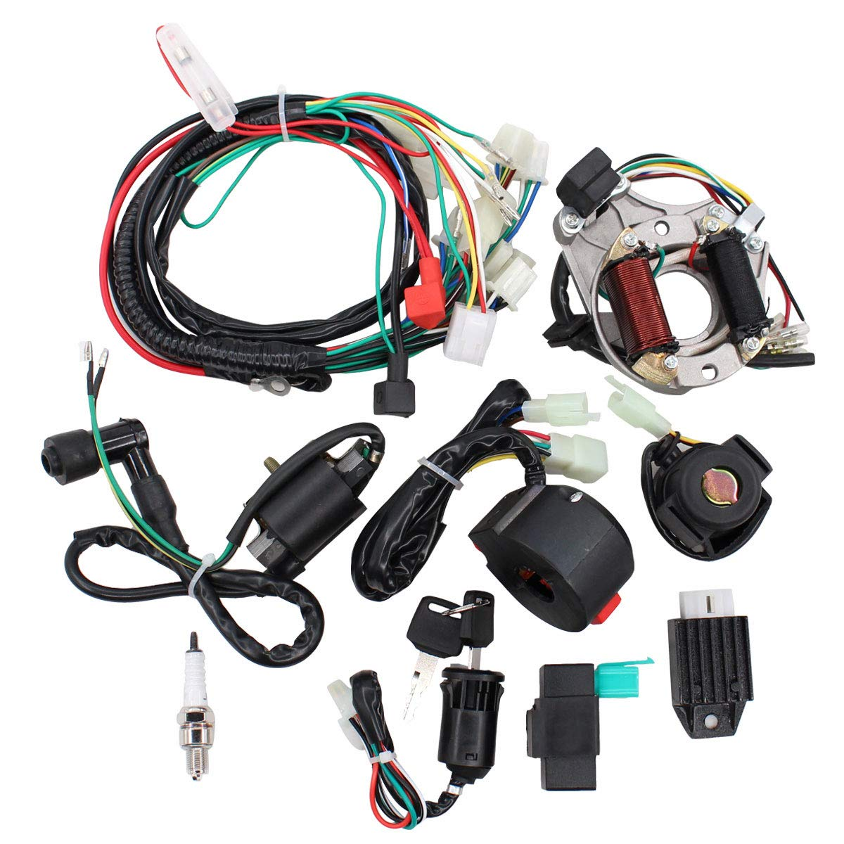 ApplianPar Electrics Start Engine CDI Ignition Coil Wiring Harness Kit CDI Wire Spark Plug Assembly for 4 Stroke ATV KLX 50cc 70cc 110cc 125cc Go Kart Quad Bike Buggy