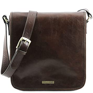 46dfc5a4a9 Tuscany Leather - TL Messenger - One compartment leather shoulder bag Dark  Brown - TL141260 5  Amazon.co.uk  Luggage