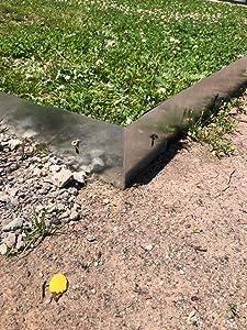 Garden/Lawn Edging 90 Degree Corners, Garden/Lawn Borders (Pack of 4) - No Till Gardening (Steel, Gray)