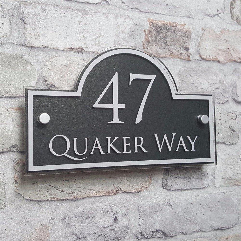 Fuli Customized Modern House Address Plaque Door Number Signs Name Plates Glass Effect Acrylic (250mm×150mm-Bridge Shape)