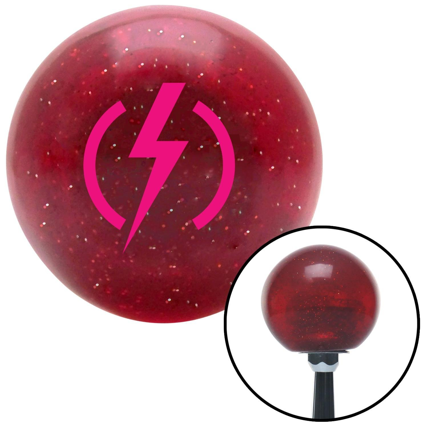 Pink Bolt American Shifter 47647 Red Metal Flake Shift Knob with 16mm x 1.5 Insert