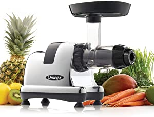 Omega Juicer J8008C Juicer Extractor and Nutrition Center Creates Fruit Vegetable and Wheatgrass Juice Quiet Motor Slow Masticating Dual-Stage, 200-Watt, Metallic (Renewed)