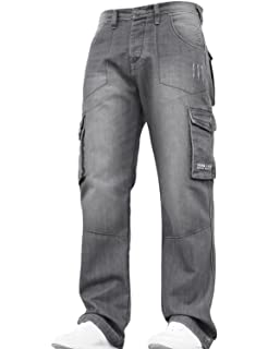 a8380491ced New Mens Designer Heavy Duty Multi Pocket Dark Cargo Combat Denim Jeans  Pants All Waist and