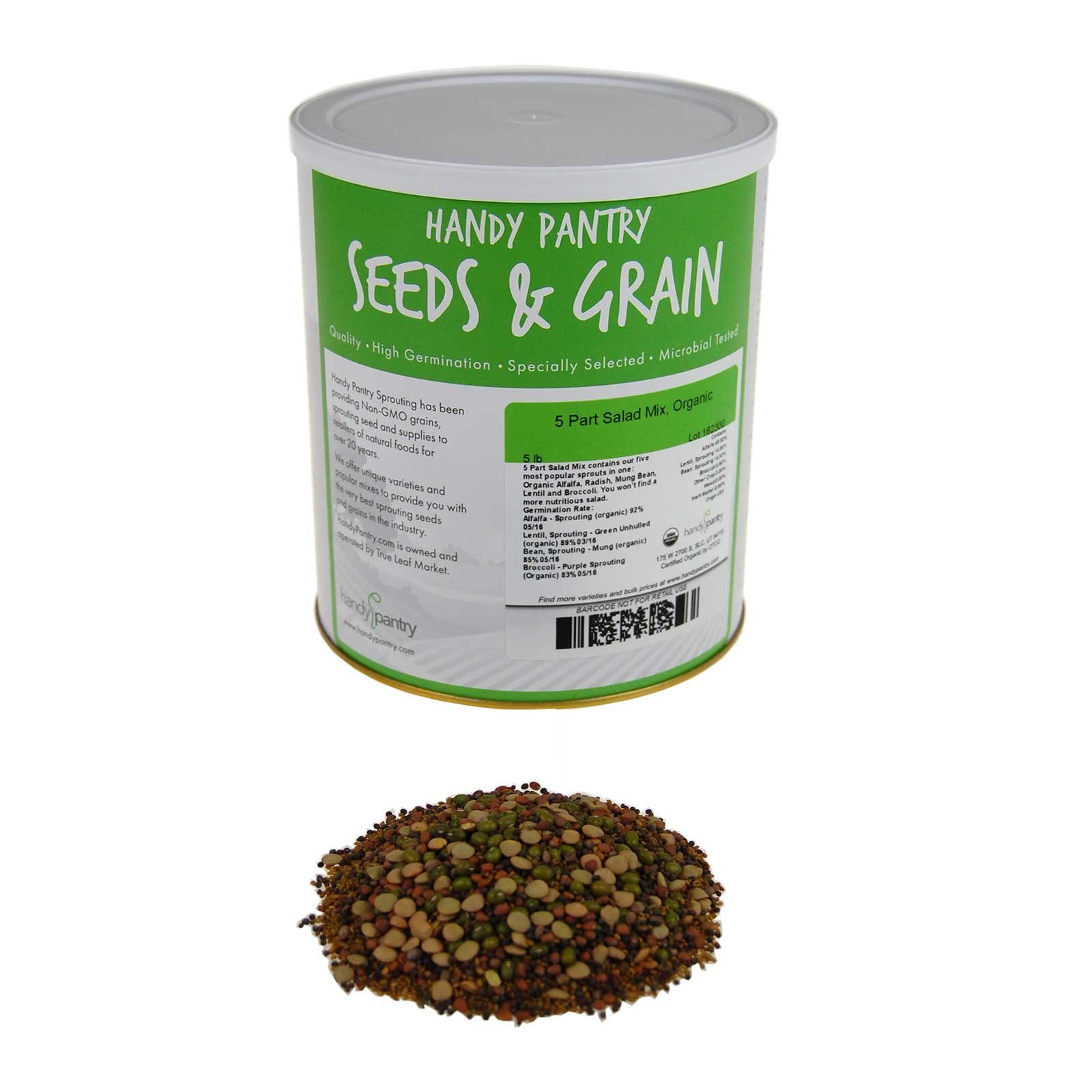 5 Part Salad Sprout Seed Mix -5 Lbs- Organic Sprouting Seeds: Radish, Broccoli, Alfalfa, Green Lentil & Mung Bean - For Sprouts