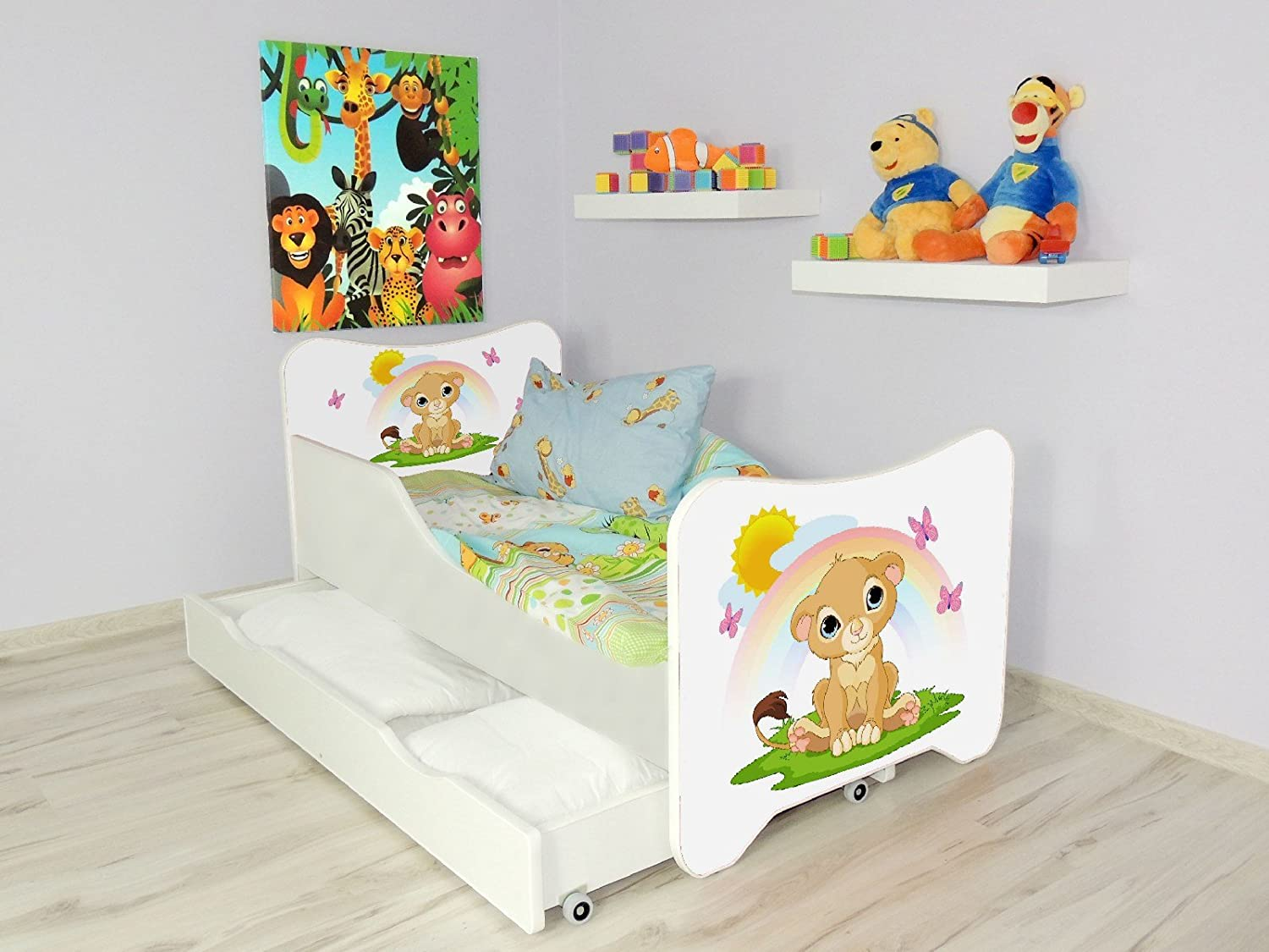 TODDLER CHILDREN KIDS BED INCLUDING MATTRESS + DRAWER 160x80!! 30 DESIGNS!!! (FISH) Topbeds