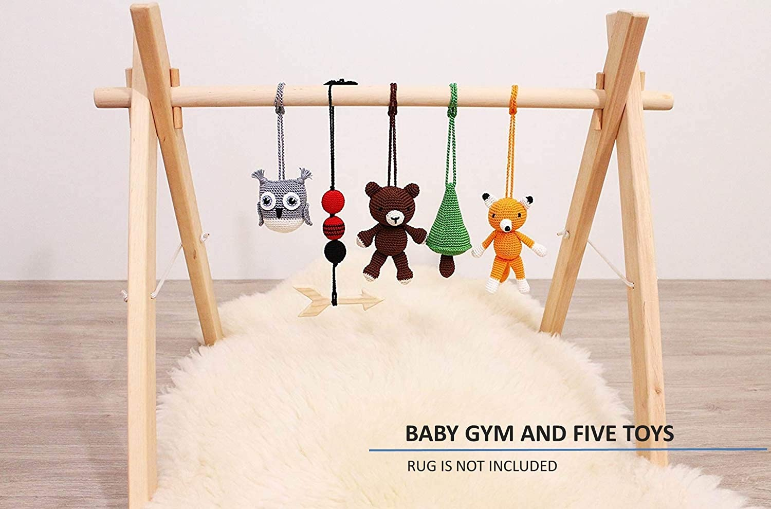 Lumberjack baby play gym wood with 5 mobiles: Bear, fox, owl, pine tree, wooden arrow. Woodland. Hunting. Camp. Outdoor adventure. Infant activity center. Handmade. Baby gift