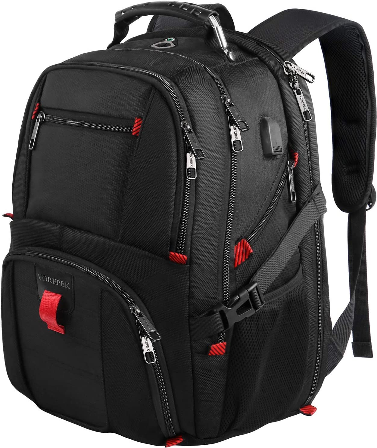 Men Laptop Backpack Water Resistant USB Charger Port Headphone Hole Rucksack