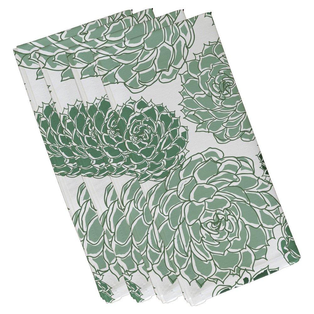 E byデザインOliviaフローラル印刷ナプキン – 4のセット グリーン NF841GR15  グリーン B071XZ3HDL