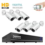ISEEUSEE 8CH Security Camera System 1080N Video DVR recorder with 6 x HD 1920TVL 1080P Indoor Outdoor Weatherproof CCTV Cameras, Motion Alert, Smartphone, PC Easy Remote Access, NO Hard Drive