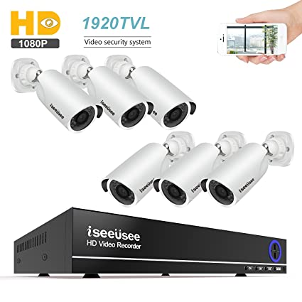 ISEEUSEE 8CH Security Camera System 1080N Video DVR recorder with 6 x HD 1920TVL 1080P Indoor