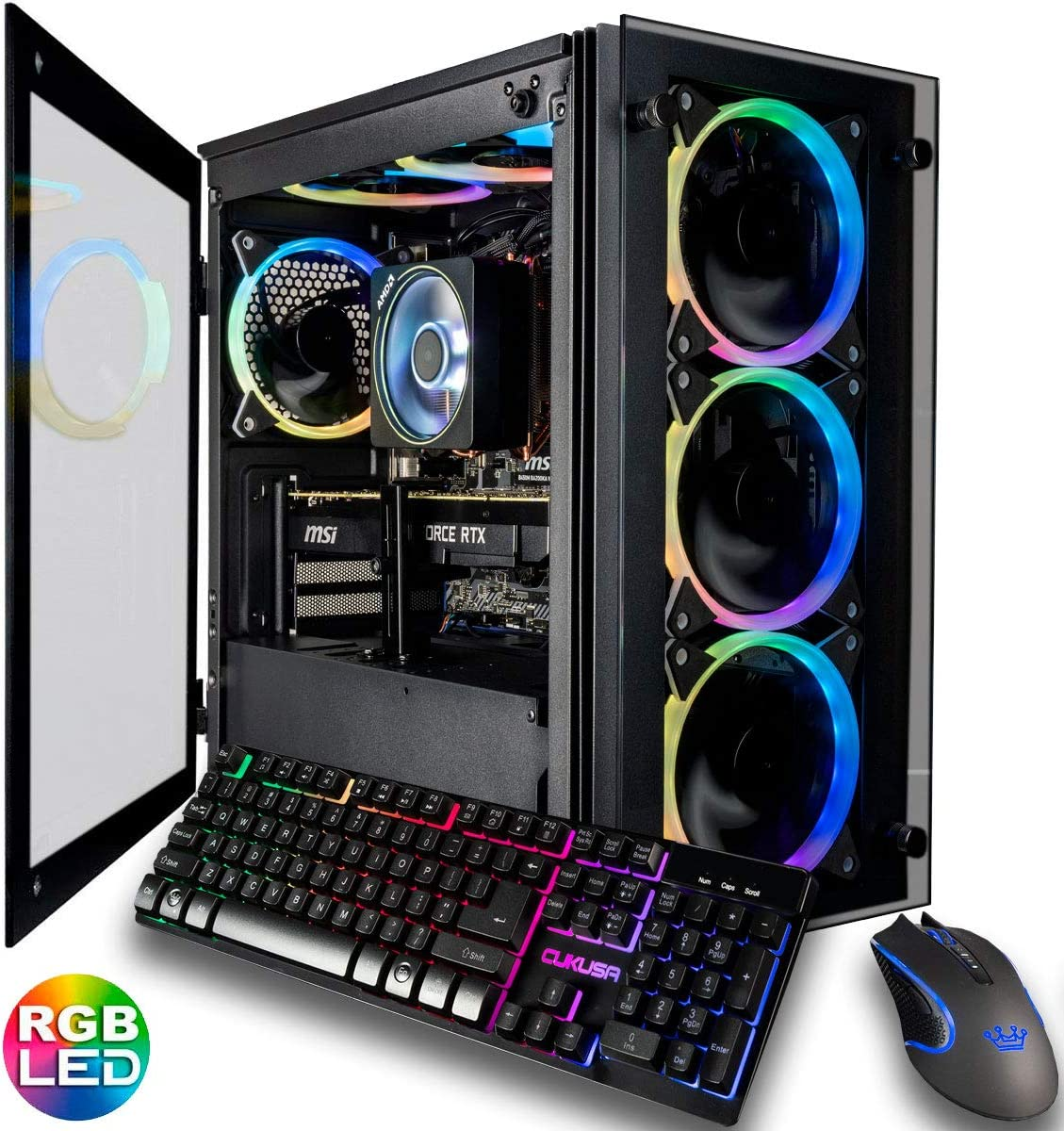CUK Stratos Micro Gaming Desktop (AMD Ryzen 9 3900X, 32GB DDR4 3200 RAM, 1TB NVMe SSD + 2TB HDD, NVIDIA GeForce RTX 2080 Super 8GB, 700W Gold PSU, AC WiFi, Windows 10 Home) Best New Gamer PC Computer
