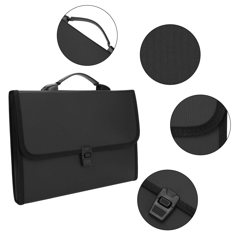 organizador de carpetas individuales A4 13 compartimentos portadocumentos bolso de mano con cierre de hebilla extensible bolsa de pl/ástico color Negro taille Archivador de documentos