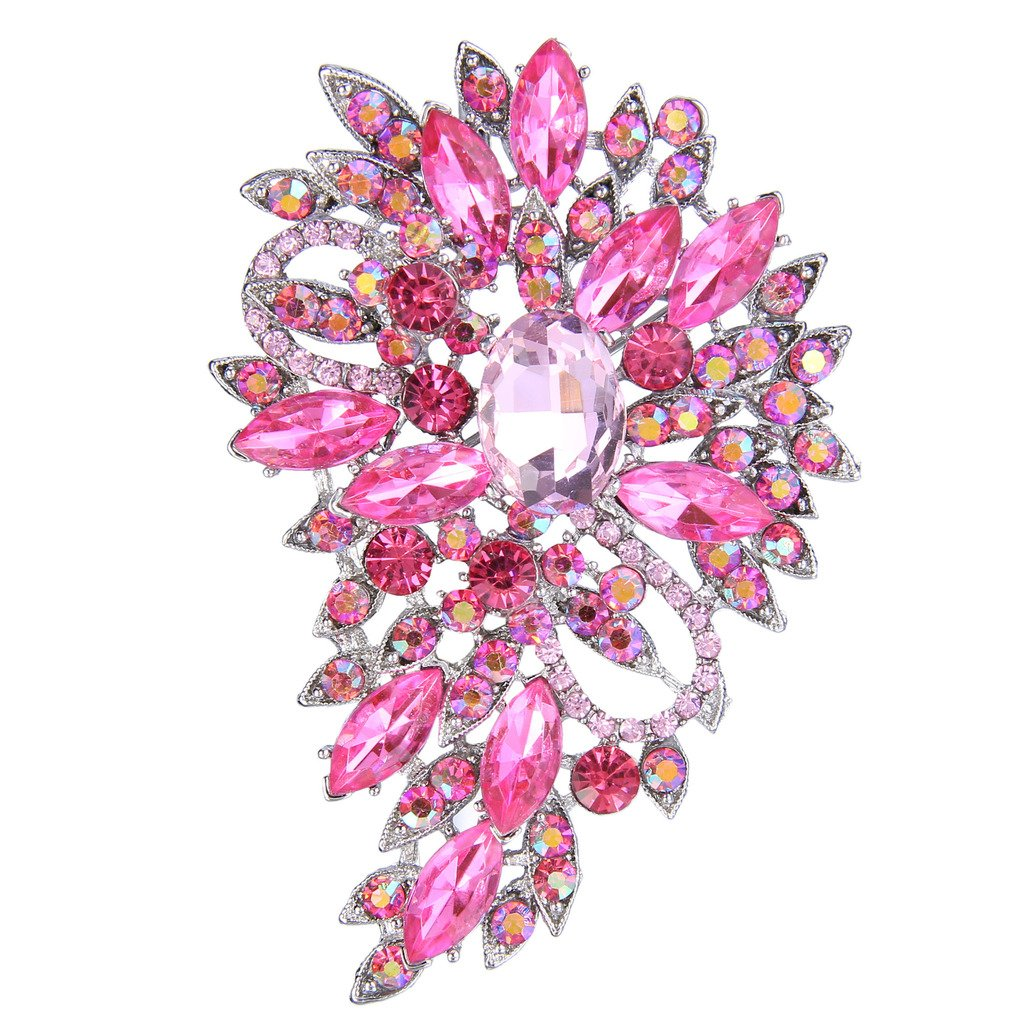 EVER FAITH Women's Austrian Crystal Wedding Flower Leaf Bouquet Brooch Pink Silver-Tone