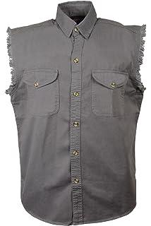Large Milwaukee Performance DM1001-LBLU-L Mens Denim Sleeveless Shirt Light Blue