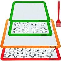 Koulang Reusable Silicone Baking Mats - BPA Free Nonstick Macaron Baking Mat Sets 4 Pack Large and Small with Oil Brush…
