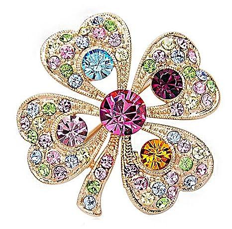 Hosaire Broche de Trébol de Diamantes 3.5X3.5cm Broches y Prendedores Retro Pin Ramillete