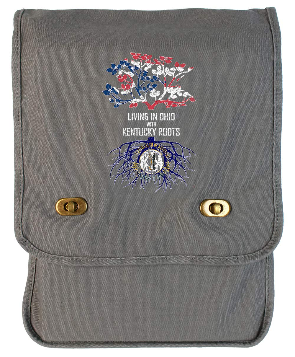 Tenacitee Living In Ohio with Kentucky Roots Grey Brushed Canvas Messenger Bag