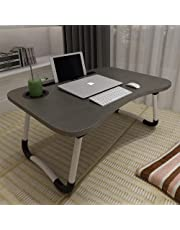 Laptop Bed Table, ACITMEX Foldable Portable Lap Standing Desk with Cup Slot, Notebook Stand Breakfast Bed Tray Book Holder for Sofa, Bed, Terrace, Balcony, Garden-Black