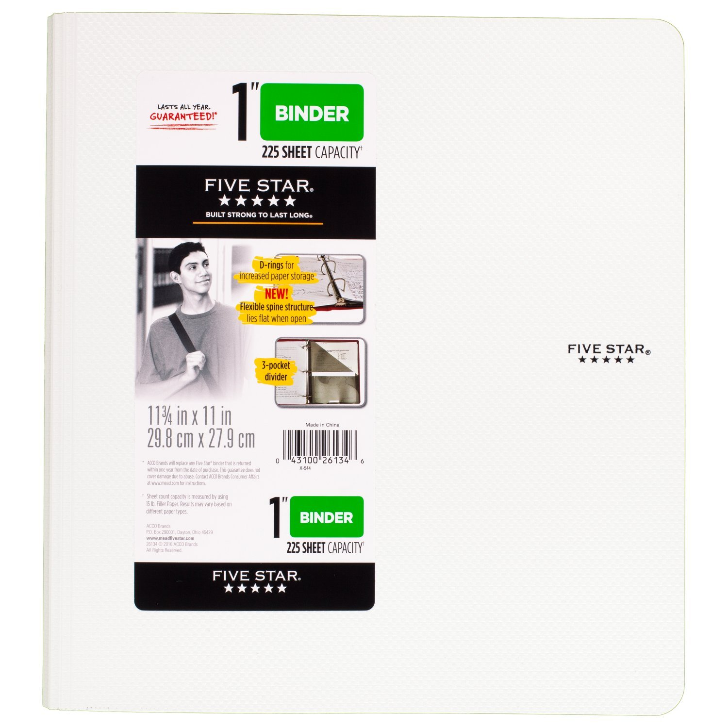 Five Star 1 Inch 3 Ring Binder, Plastic, White (38904)