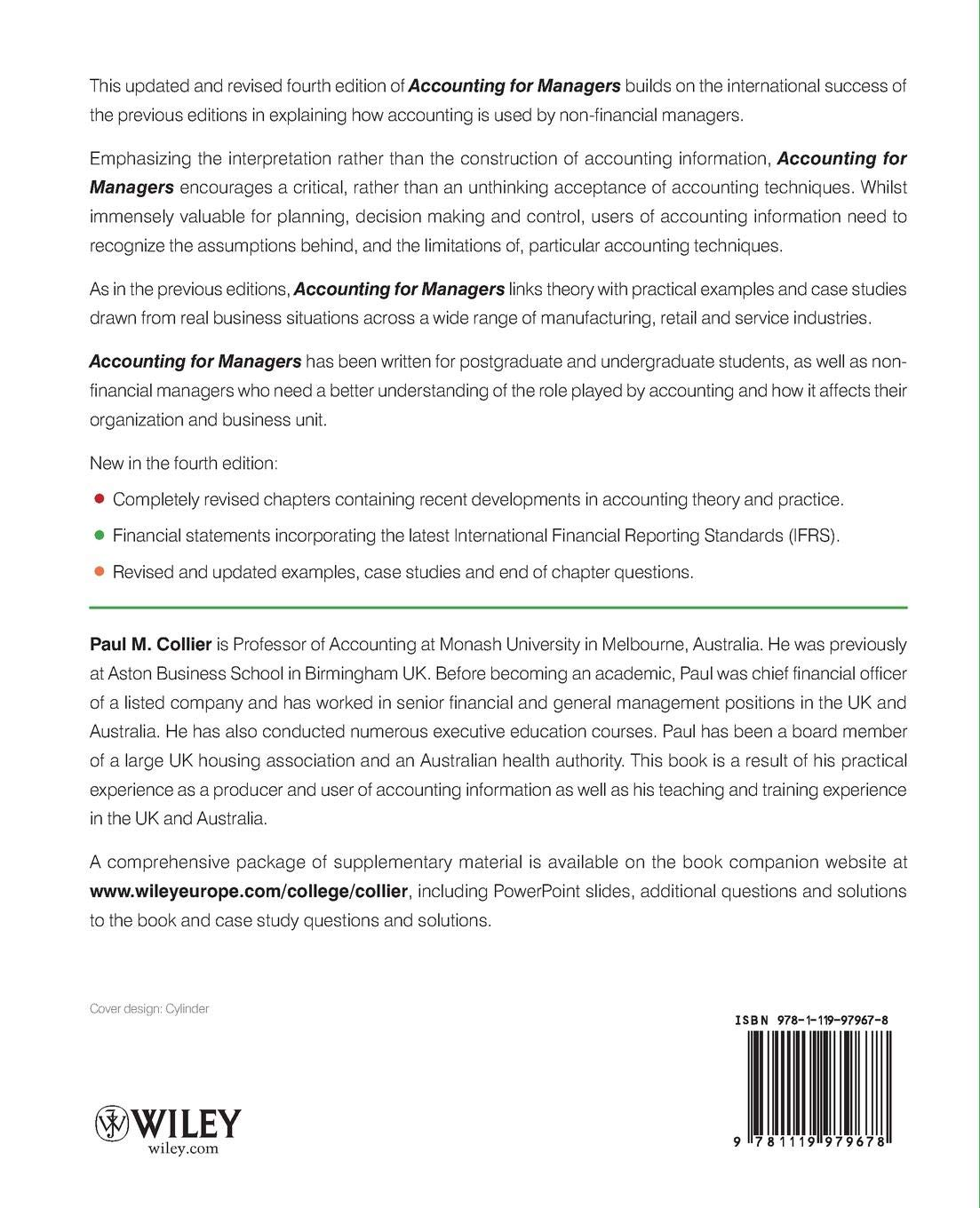 Accounting For Managers 4e: Amazon co uk: Collier