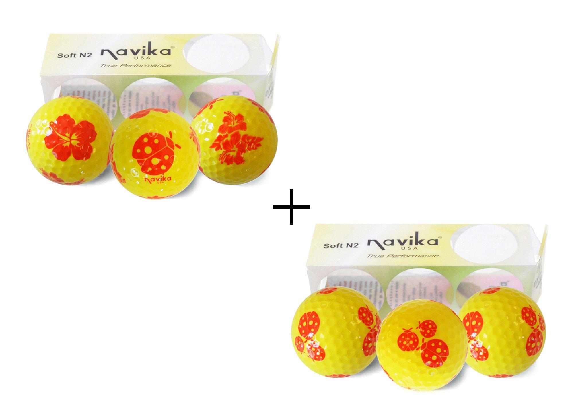 Navika GOLF BALLS- Ladybug/hibiscus Imprinted COMBO (2 PACK)