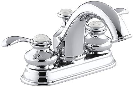 KOHLER KCP Fairfax Centerset Lavatory Faucet Polished - Kohler fairfax widespread bathroom faucet