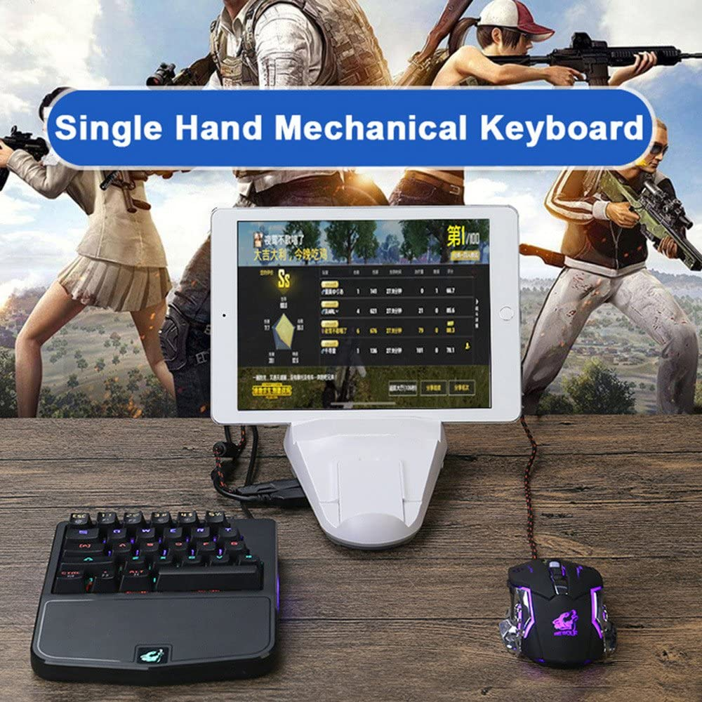 YRD TECH for PC Laptop Computer Blue Switch K9 Wired 28 Keys Mixed Light Ergonomic PC Single Hand Gaming Mechanical Keyboard Black