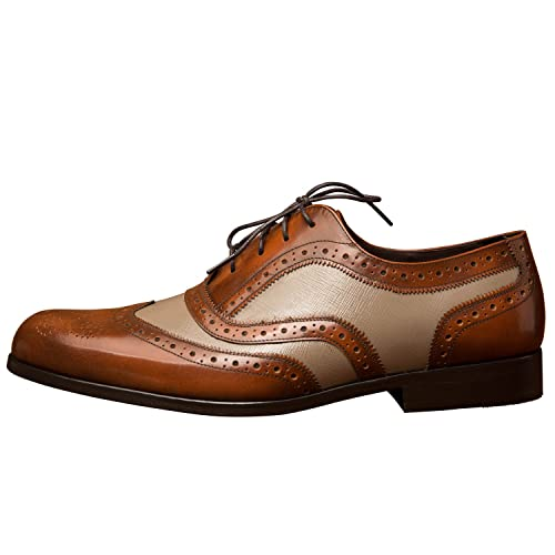 iTailor Men's Handmade Shoes: Dual Tone Burnished Brown Wingtip Brogue with  Textured Leather