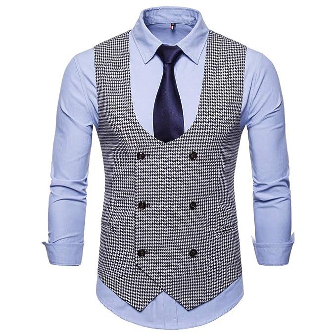 2225c68153c0d MODOQO Men s Business Suit Vest Double Breasted Formal Wedding Dress  Waistcoat(Black ...