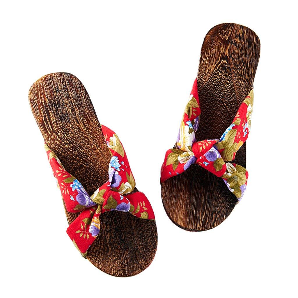 AJZGF Zapatillas de Madera Hiratsana, Zapatillas de Madera de Estilo Japonés, Zapatillas Planas Antideslizantes.