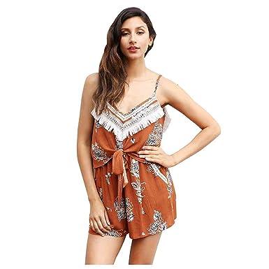 7ee75e267c1 TOOGOO(R) Women Sexy V Neck Tassel Print Summer Jumpsuit Romper Women  Backless Bow