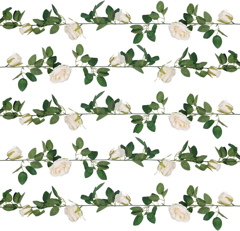 U'Artlines Artificial Rose Vine Silk Flower Garland Hanging Baskets Plants for Indoor Outdoor Home Wedding Arch Garden Wall Decor (5pcs, Light Champagne)