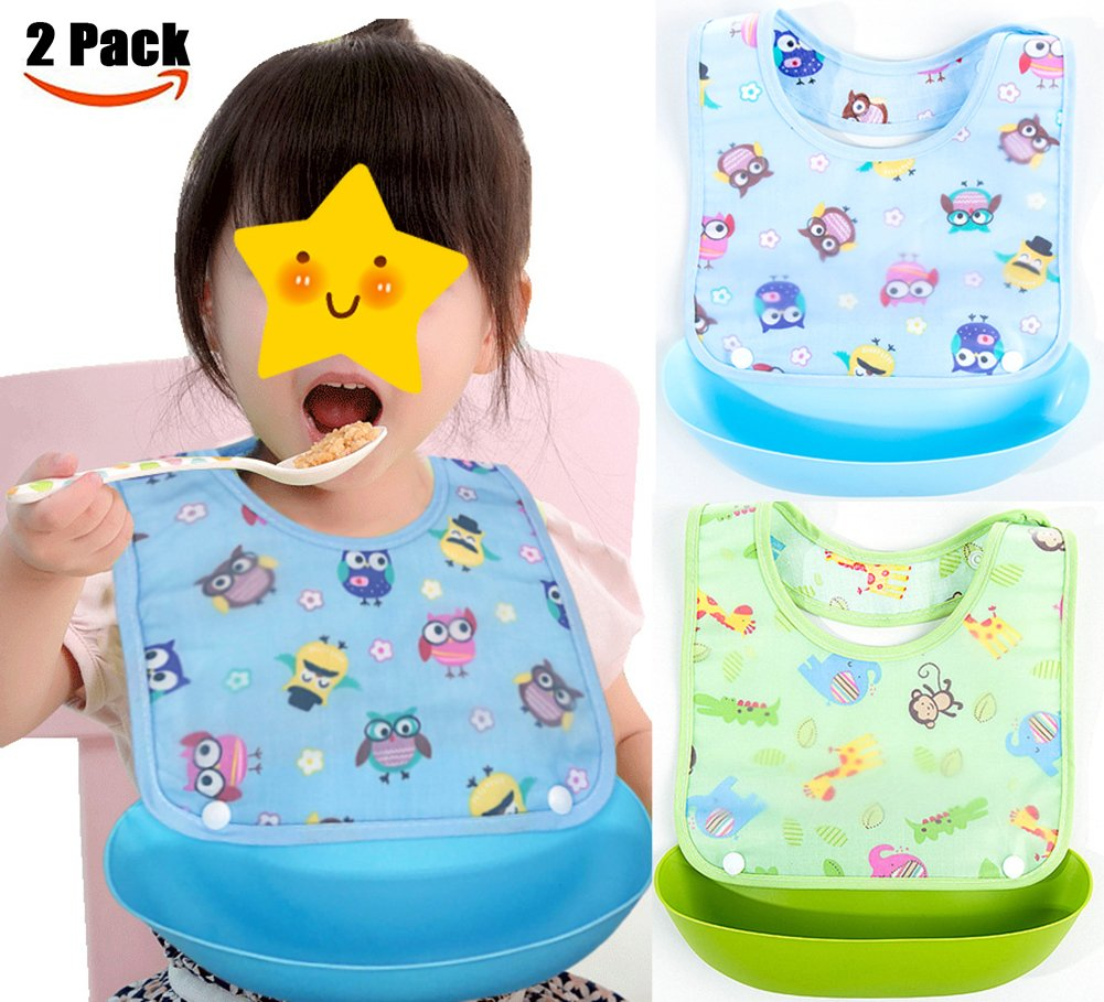 Suntapower Waterproof Unisex Cute Baby Bib with Detachable Wide Food Crumb Catcher Pocket(BabyBibs)