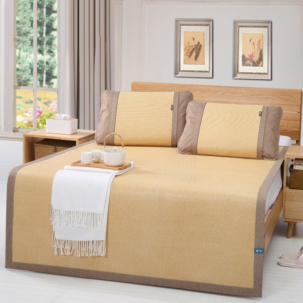 2  1.5×1.95m LITT Cool Mattress,Bedding Straw Mat Summer Sleeping Mats Bed-mat Collapsible Home Grid Breathable, Rattan Seats, 2 colors, 1.5 1.8m Cool Mattress (color   2 , Size   1.5×1.95m)