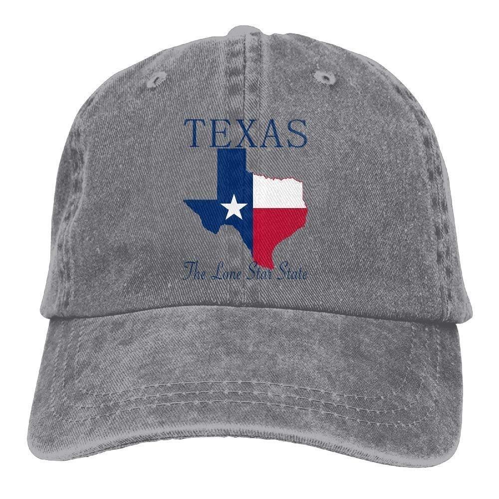 JTRVW Texas The Lone Star State Denim Hat Adjustable Unisex Surf Baseball Hat